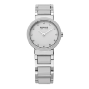 white ceramic watch by bering with silver accents