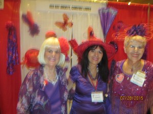 Red Hat Society Members, Charlotte Beasley, Shake Potoukian, and Rosemary Van