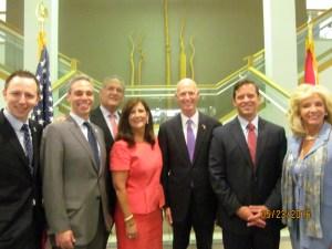 Boca City Council with Gov. Scott, Lt. Gov Cantera and Sen. Maria Sachs