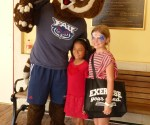 Summer Reading Kick Off June 11, 2016 FAU Mascot Owlsley with Kids in front of Spanish River Library