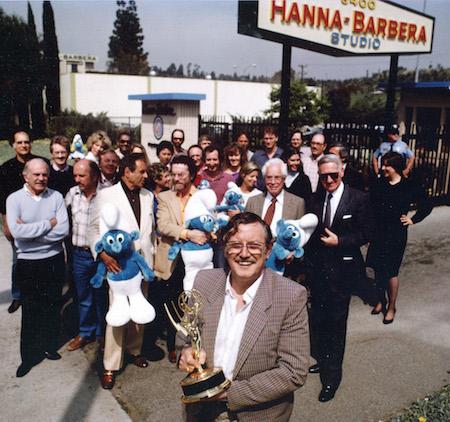 Los Angeles - De gauche à droite: William Hanna, Joe Barbera, Gerard Baldwyn, Freddy Monnickendam et Pierre Culliford (Peyo) avec le Price of Academy of Television, Arts &and Sciences