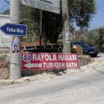 Sign for Royola Hamam, Ortakent, Nr. Bodrum, Turkey