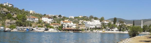 Fishing Boat Harbour Restaurants Ancient Iassos Kriyikislacik Bodrum Peninsula Turkey