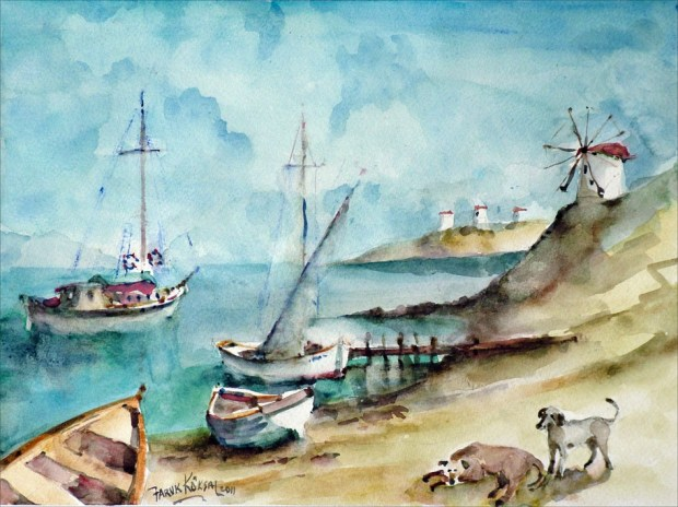 Watercolour of Bodrum Windmills and Bay