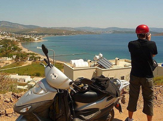 View of the Aegean on the Bodrum Peninsula in Turkey Motorbike