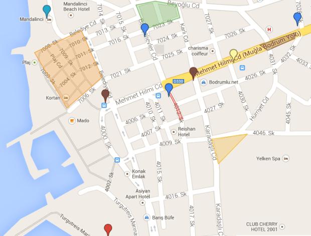 Turgutreis Itinerary: Shop 'til you Drop Reference Map Bodrum Peninsula Turkey
