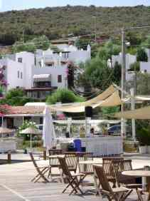 Jetty view in Torba, with local houses near Bodrum Turkey