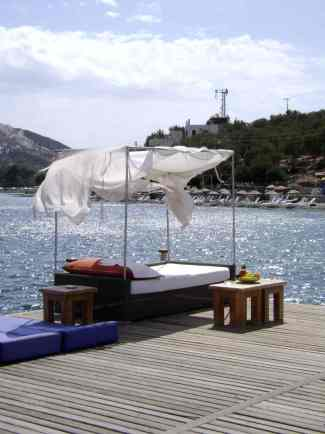 Double Sunbed on the Jetty Torba Bodrum Turkey