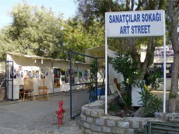 Entry and sign of Art Street in Yalikavak Bodrum Turkey