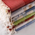 A pile of Pesthemal towels for a Turkish Bath Hamam