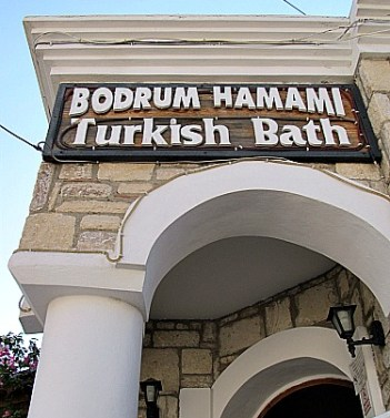 Bodrum Turkish Bath Exterior and sign