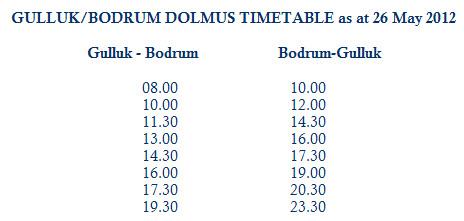Gulluk Bodrum Peninsula Dolmus Public Transport Timetable