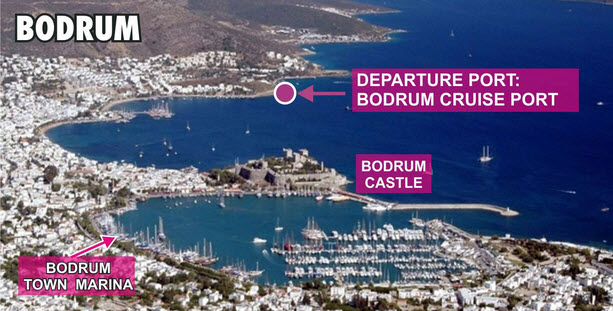Bodrum Cruise Port location for Yesil Marmaris ferry departures