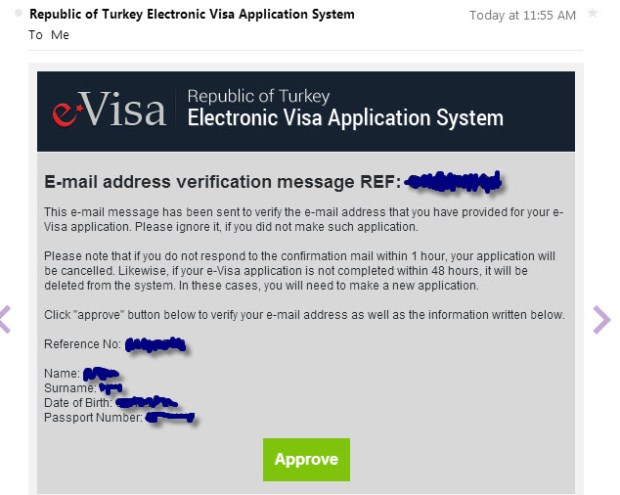 e-Visa for Turkey Confirmation Email screen Official Website