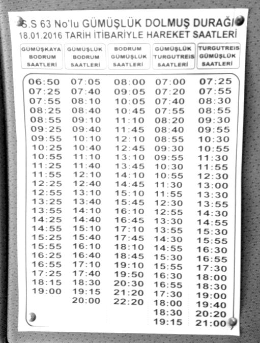 Gümüşlük Dolmuş Timetable Winter 2015/2016 Bodrum Turkey