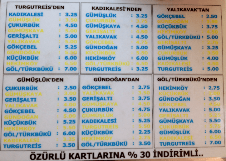 Dolmuş from Turgutreis to Gölköy Timetable & Fares 2016