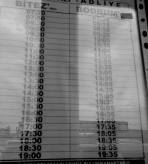 Bitez Public Bus Timetable Bodrum Turkey