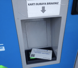 Kent Card reader at the top up kiosk in Bodrum