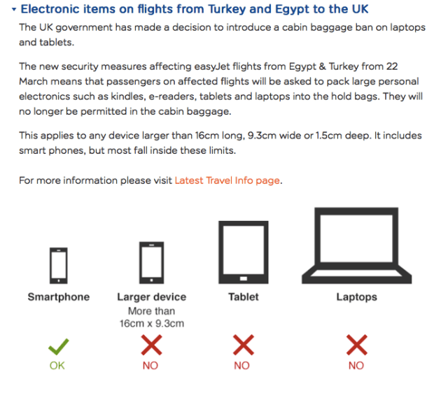 Electronic items on flights from Turkey and Egypt to the UK