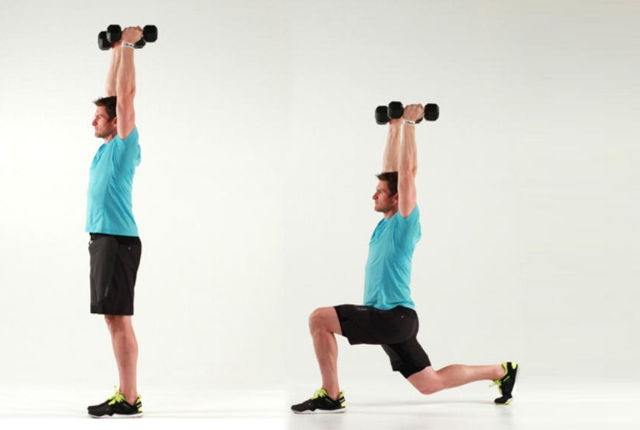 Lunges With Dumbbells overhead