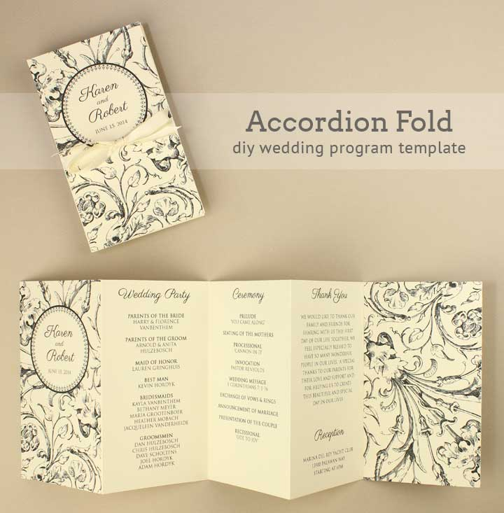 DIY Tutorial FREE Printable Folded Wedding Program - Boho Weddings