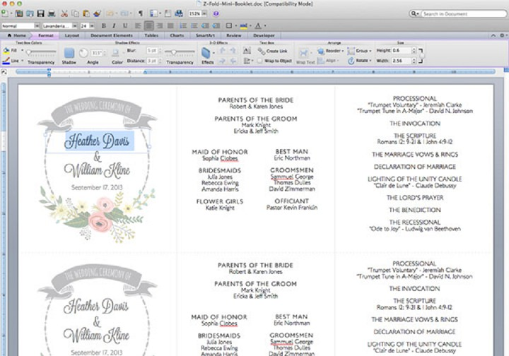 DIY Tutorial FREE Printable Ceremony Booklet Boho Weddings For - booklet template word