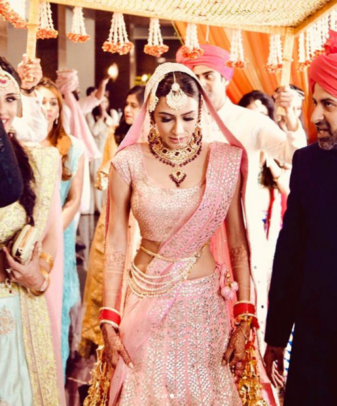 12 Celeb Brides Who Wore Pink Lehenga And Gave The Message That - pink wedding photo