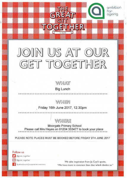 The Great Get Together - Lunch Invite for local residents aged 50 - invitation for a get together