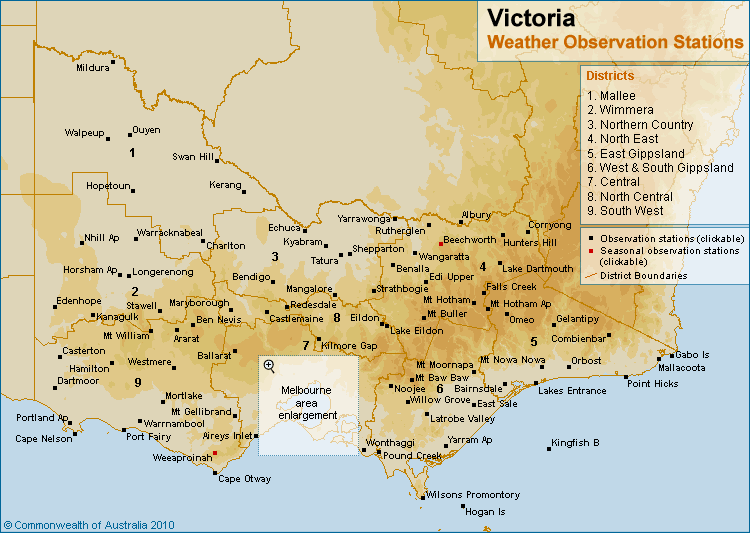 Victorian Weather Observation Stations