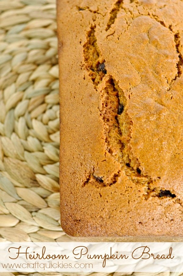 Heirloom Pumpkin Bread Recipe from Craft Quickies. Seriously AMAZING! Every time I make it someone asks for the recipe!