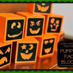 Quick & Easy Mod Podge Pumpkin Face Blocks