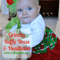 Grinch Ruffle Dress and Headband