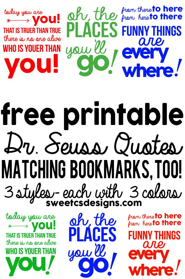 MEGA Dr Seuss download 3 quote printables in different colors plus p2OC8foX