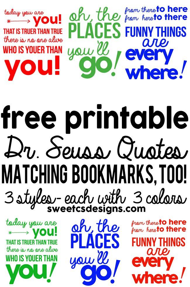 MEGA Dr Seuss download 3 quote printables in different colors plus dz6nmffI
