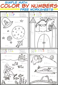 Free Color by Number Math WorkSheet - My Mommy Style