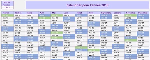 Calendrier Excel avec Week-End et jours fériés