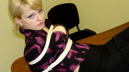 Kinky Blond Secretary tightly tied up in Office