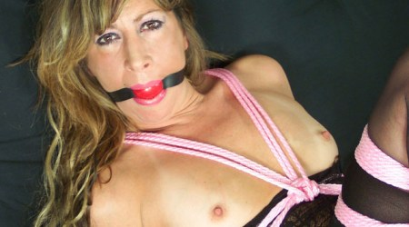 Topless Wife gagged in tight Rope Bondage at Home