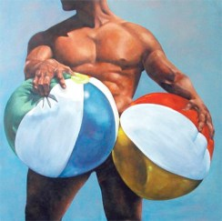 muscle man beach ball fetish