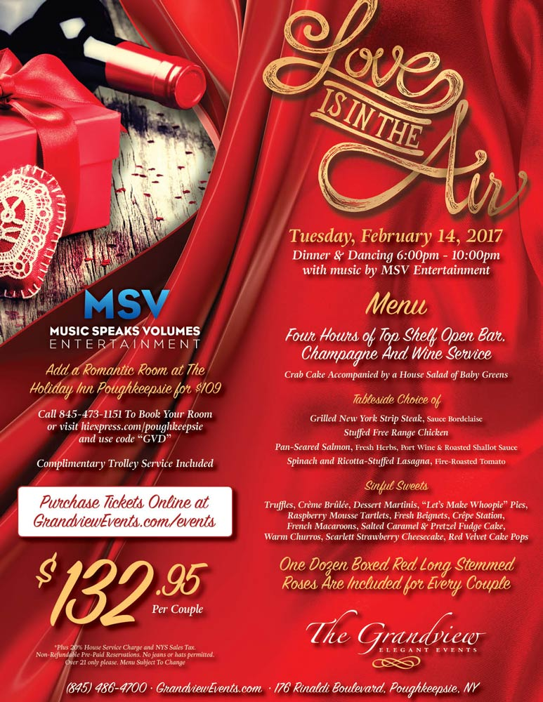Love is in the Air Valentine\u0027s Dinner Dance - The Bonura Hospitality - Dinner Flyer