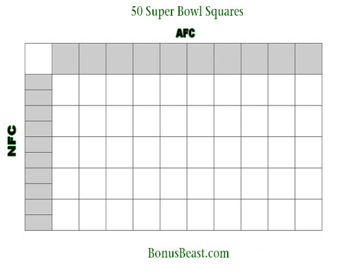 Print SuperBowl Square Grid 50 Boxes Office Pool Football - football pool template