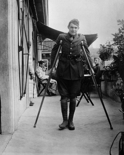 A teenage Hemingway on crutches while recovering in Milan, Italy, in September 1918.