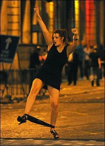 Drunken woman on the streets of Cardiff