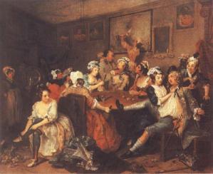 Hogarth's The Rake's Progress tavern scene