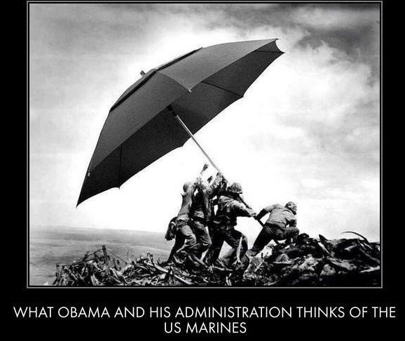 Obama the Marines and an umbrella