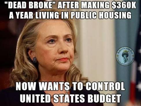 Hillary is dead broke