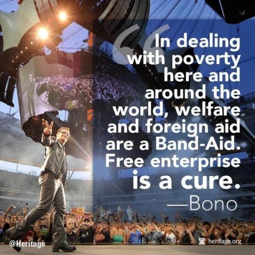 Bono supports the free market