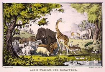 1947 Currer and Ives print of Adam naming the animals