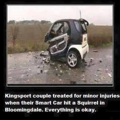 Smart car hits squirrel