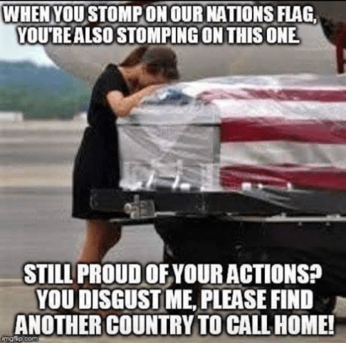Stomping on the flag